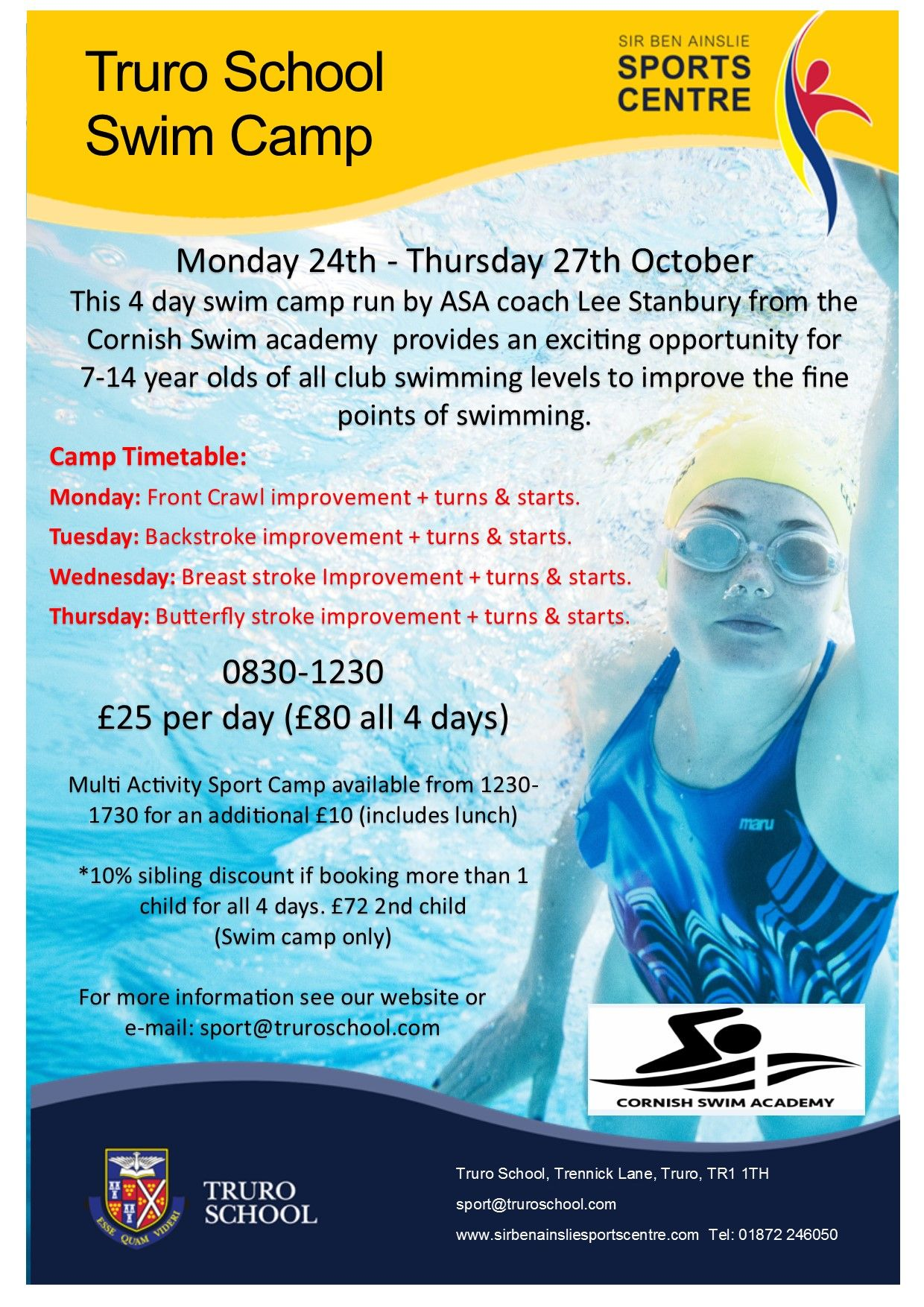 Truro School Swim Camp Sir Ben Ainslie Sports Centre